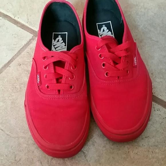 Solid Red Vans Shoes White Van Sneakers