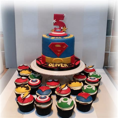 Superhero cake and cupcakes   Bakealous