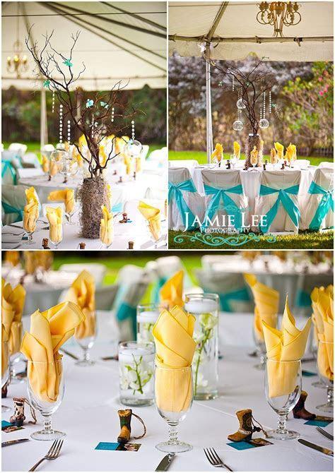 Yellow and Aqua Blue Tiffany Blue wedding reception