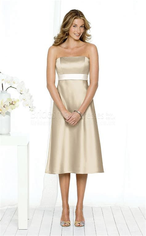 A line Short Sleeve Strapless Champagne Satin Knee length