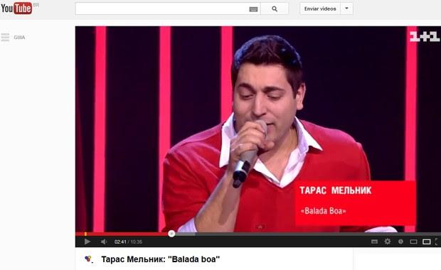 Vídeo divulgado no canal da versão ucraniana do programa 'The voice' que mostra candidato cantando hit de Gusttavo Lima (Foto: Reprodução / YouTube)