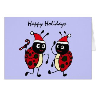 XX- Dancing Ladybugs Wearing Santa Hats Greeting Card