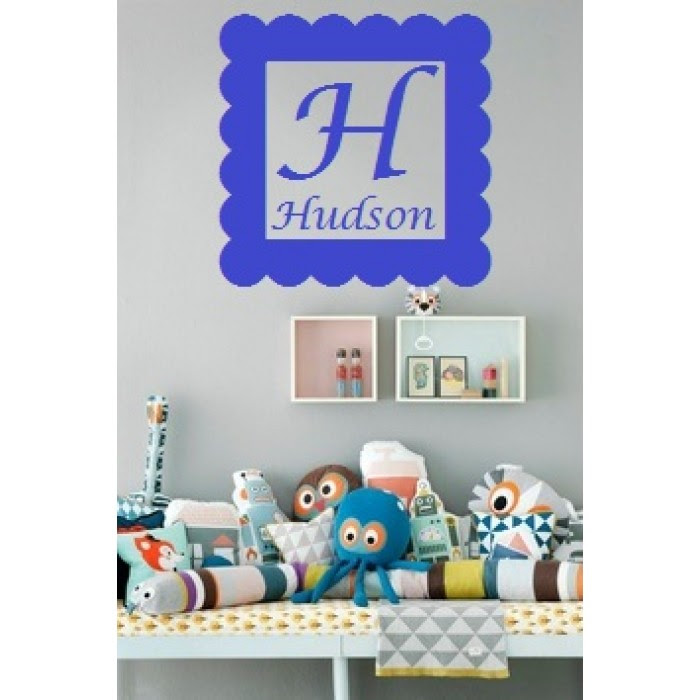 Square Frame With Monogram Letter And Name Inside Vinyl Decal 16