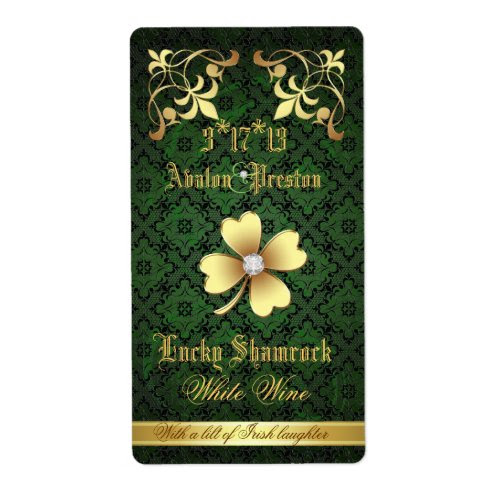 Lucky Gold Shamrock and Lace Wedding Wine Bottle Label