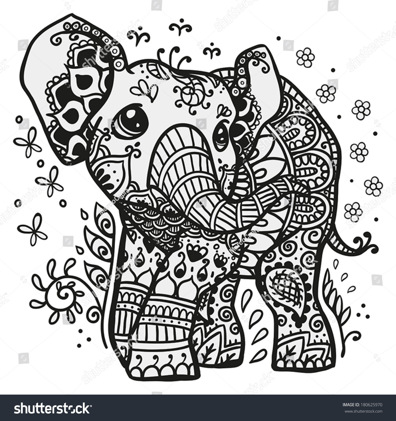 stock vector black and white vector illustration of a baby elephant with mandala drawn on his skin 180625970