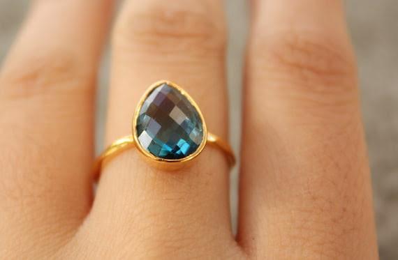 Gold Blue Topaz Ring - Teardrop Shape - Stacking Ring, December Birthstone, Black Friday Etsy, Cyber Monday Etsy