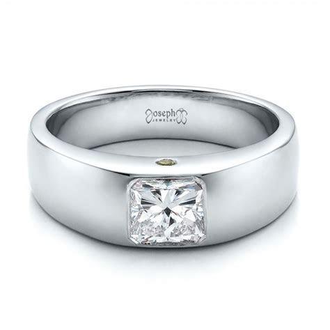 Custom Diamond and Peridot Men's Wedding Band #100267