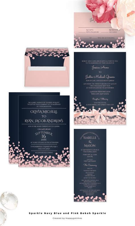 Navy blue and pink modern wedding invitations with bokeh