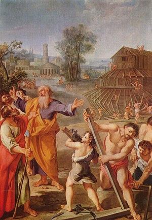 """Noah's Ark, Französischer Meister (""""The French Master""""), Magyar Szépművészeti Múzeum, Budapest. c.1675."""