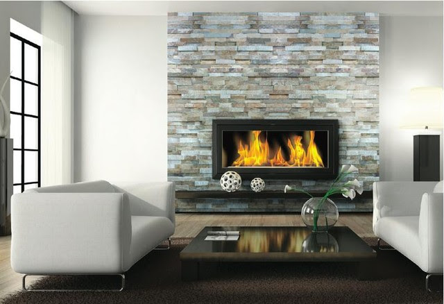 Fireplace Ledgestone/Stacked Stone Slate - traditional - floor ...