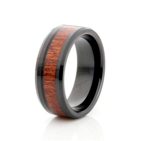 8mm Black Tungsten Ring, Wood Inlay Mens Wedding Band, Men