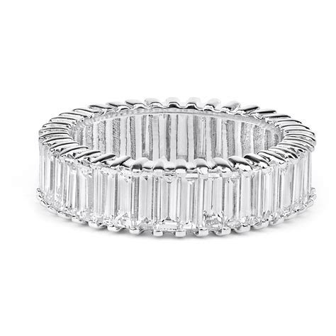 Baguette Diamond Eternity Wedding Ring in 14K White Gold