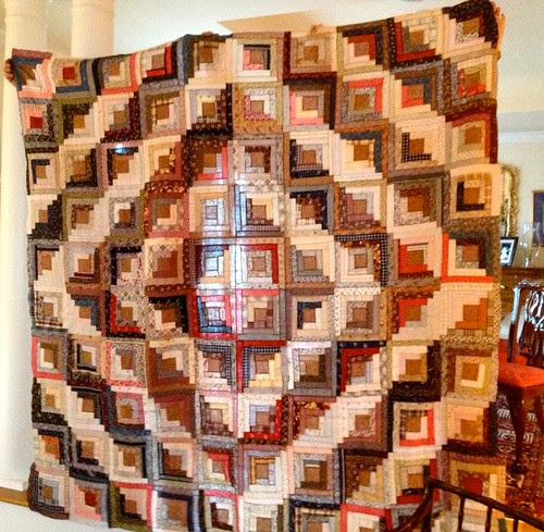 Mama's new old Barnyard Raising Log Cabin quilt from the 1880's