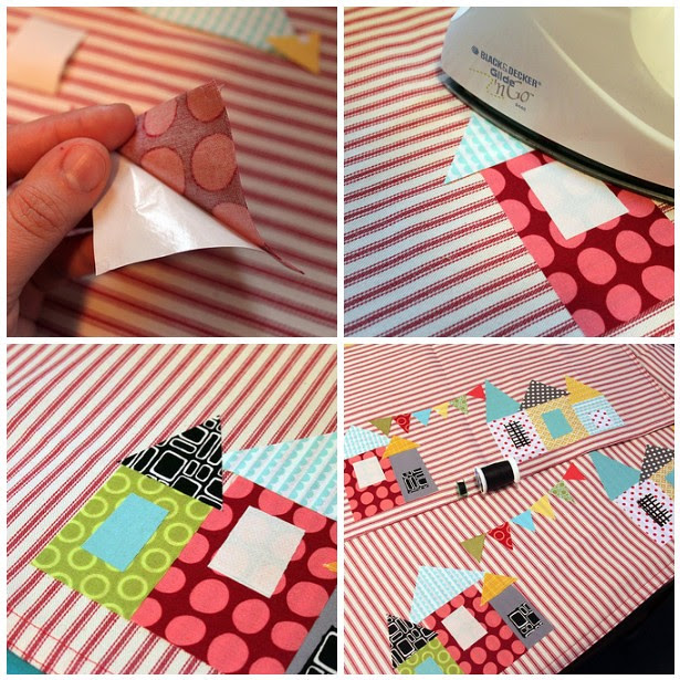 Remove paper backs and  press to adhere applique pieces