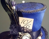 Alice in Wonderland Mini top hat - Mad Hatter style with working pocket watch