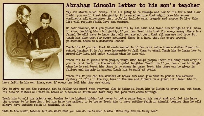 A Letter From Abraham Lincoln To His Sons Teacher Blog Ebg