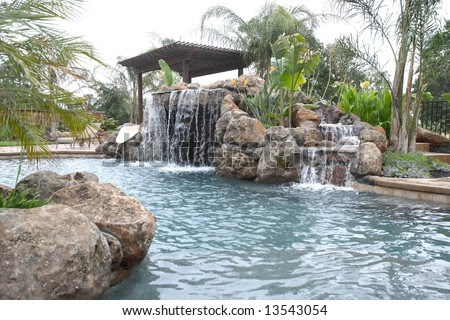 Tropical Backyards With A Pool Country Home Design Ideas