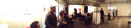 Panoramic photo of final reading at Chris Stackhouse book launch