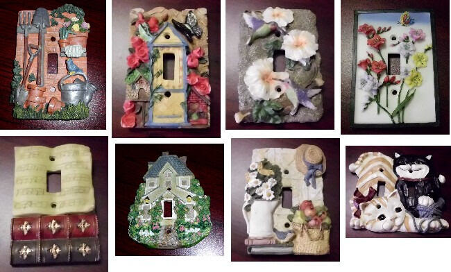 3D Ceramic Wall Light Switch Cover Plate Cats Hummingbird Garden Roses Books etc  eBay