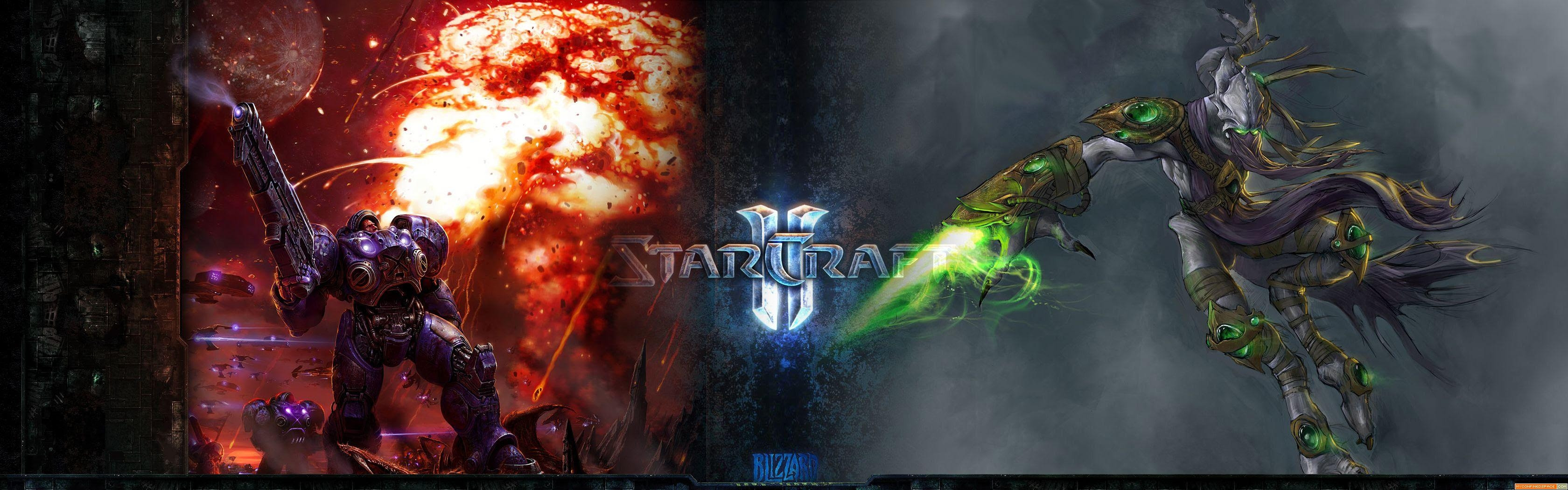 Starcraft Dual Monitor Wallpaper 3360x1050 Wallpaper Video Games