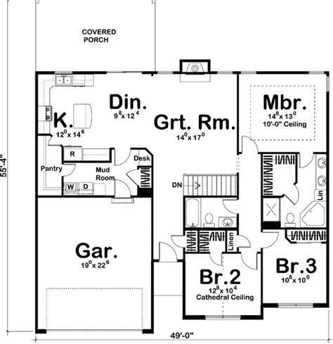 simple single story home plan dj st floor master