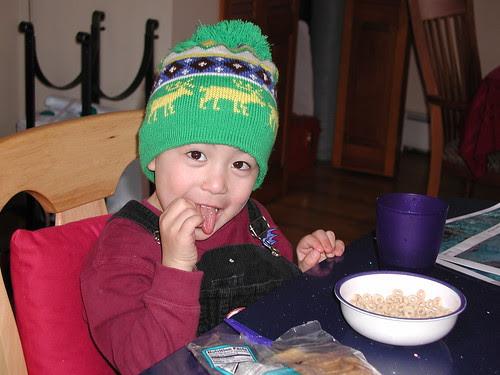 Adam eats Cheerios on his 4th Birthday