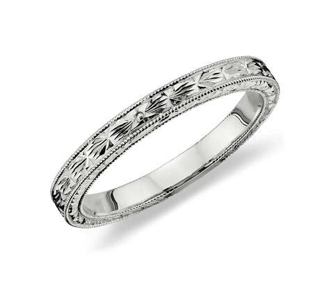 Hand Engraved Wedding Ring in Platinum   Blue Nile