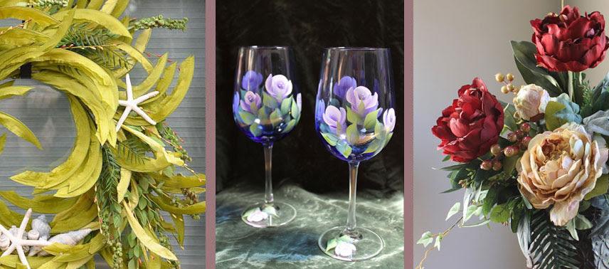 Silk Flower Arrangements Painted Wine Glasses Silk Flowers