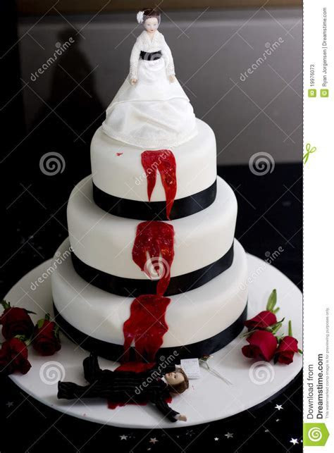 Killer Bride Wedding Cake stock image. Image of food