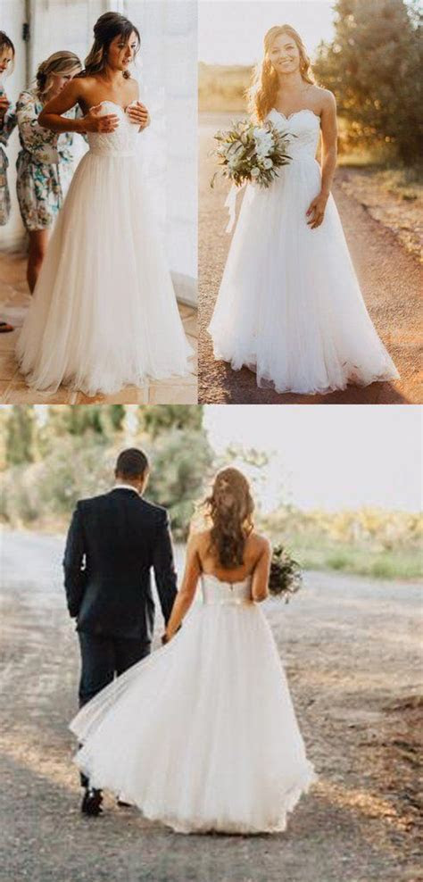 Elegant Tulle Beach 2018 Sweetheart Lace A line Simple