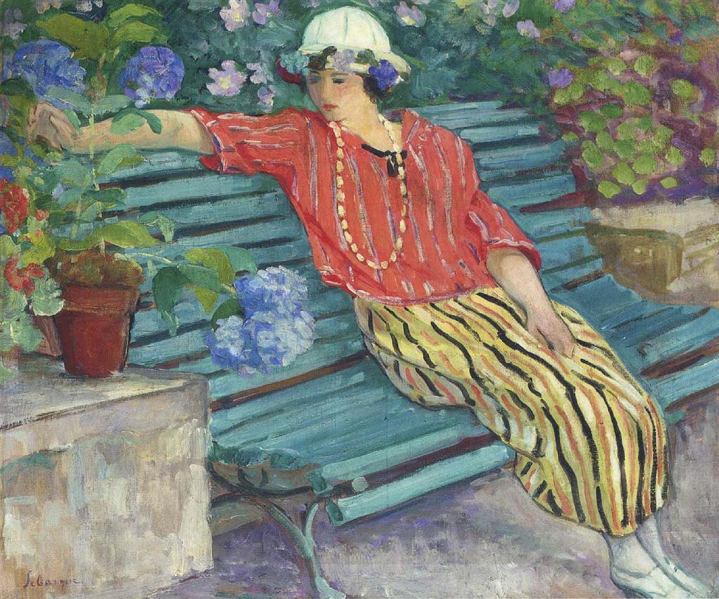 Henri Lebasque, Jeune femme assise avec hortensias, 1920