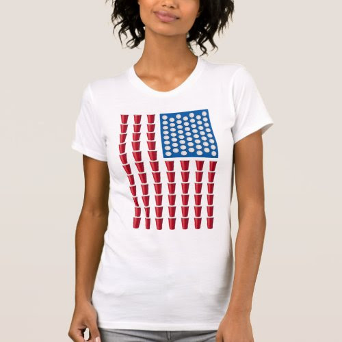 Beer Pong Drinking Game Red Solo Cup American Flag T-Shirt