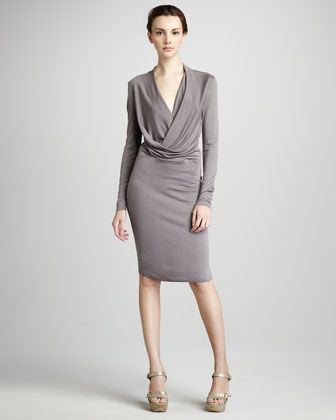 Halston Heritage Draped Jersey Dress