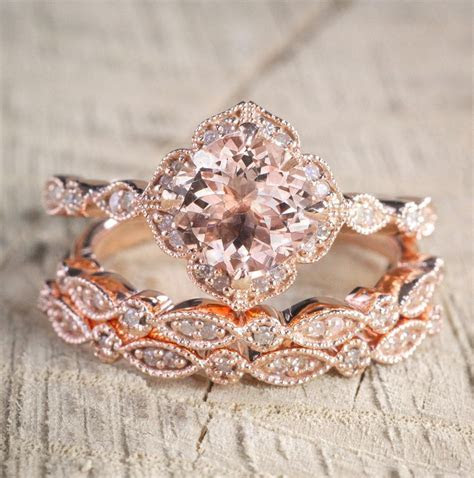 2 carat Morganite and Diamond Trio Wedding Bridal Ring Set