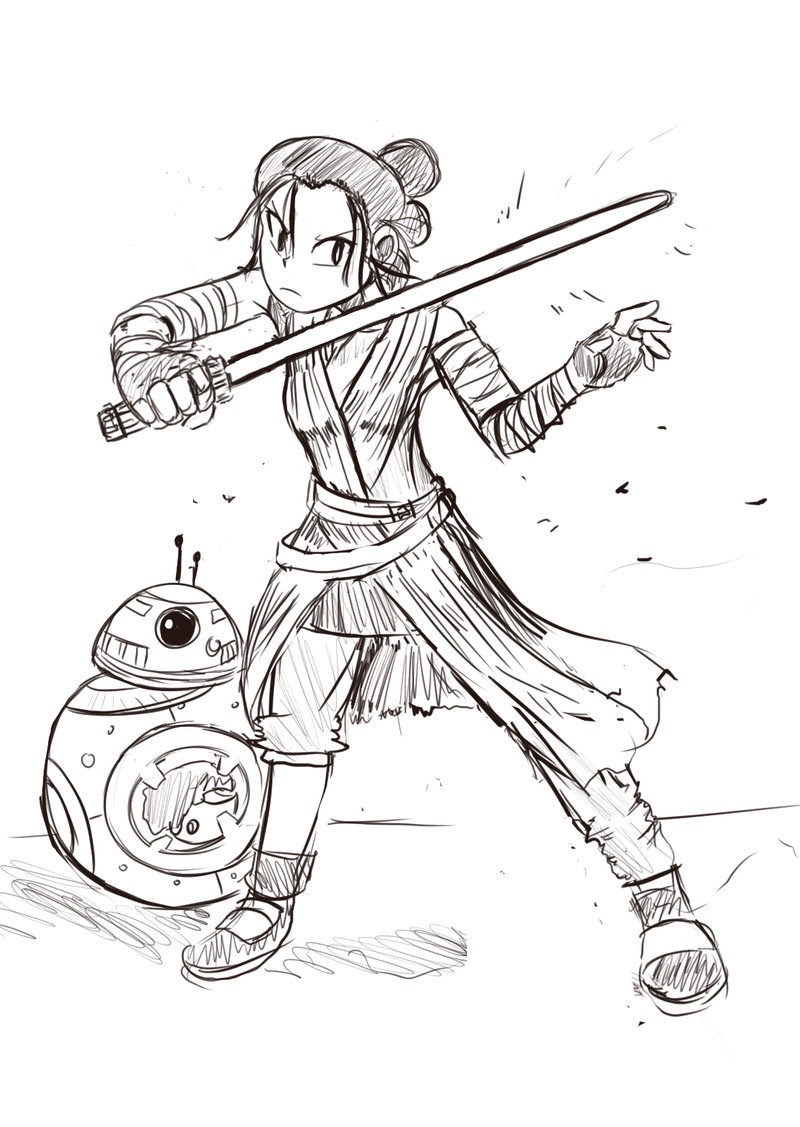 Beautiful Star Wars Rey Coloring Pages