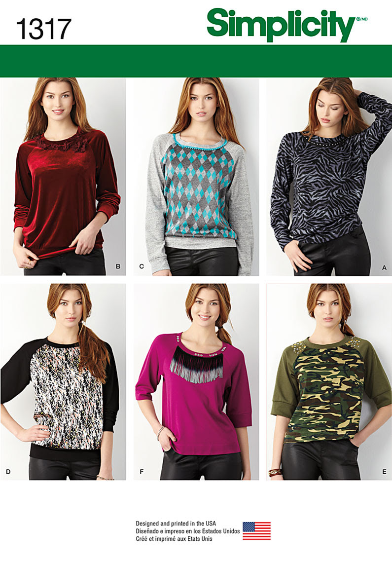Simplicity Misses' Pullover Knit Top 1317