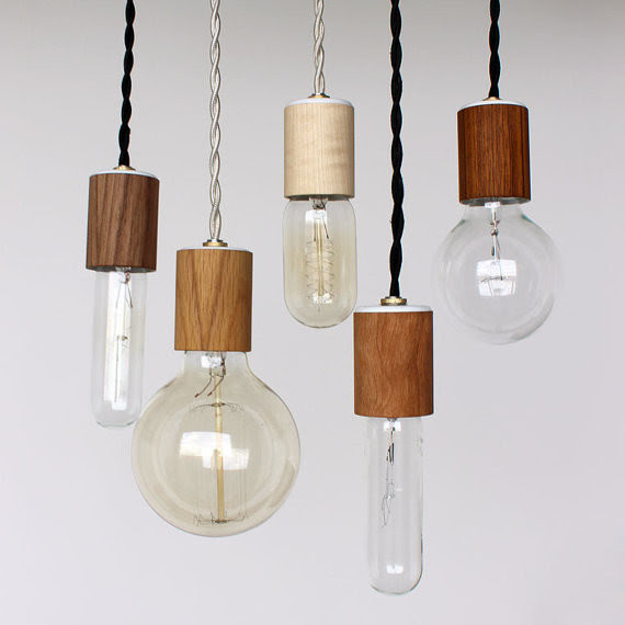 Wood Veneered Pendant Light with Bulb by Onefortythree - modern ...