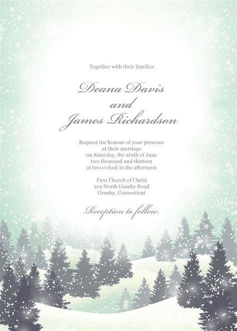 Winter wonderland wedding invitation template. Can also be