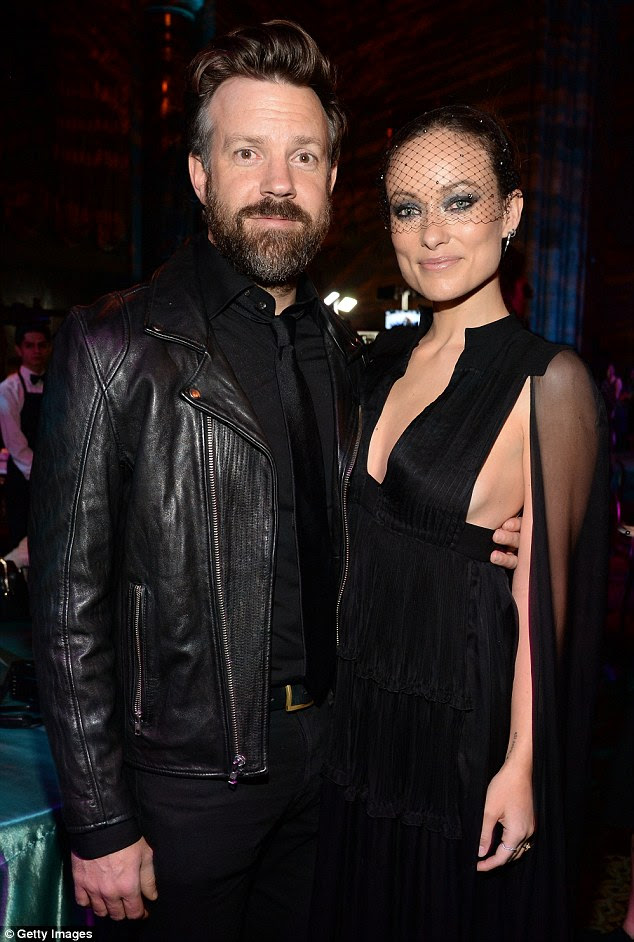 Got his eye on her: Jason kept his lady love close during the after party