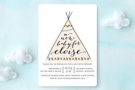 Baby Teepee Baby Shower Invitations by Fig and Cot    Minted