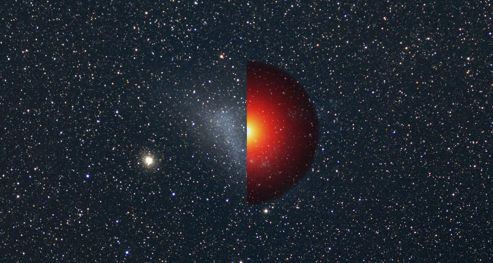 Small Magellanic Cloud galaxy photo vs. model of its dark matter
