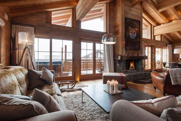35 Natural Chalet Living Room Designs | DigsDigs