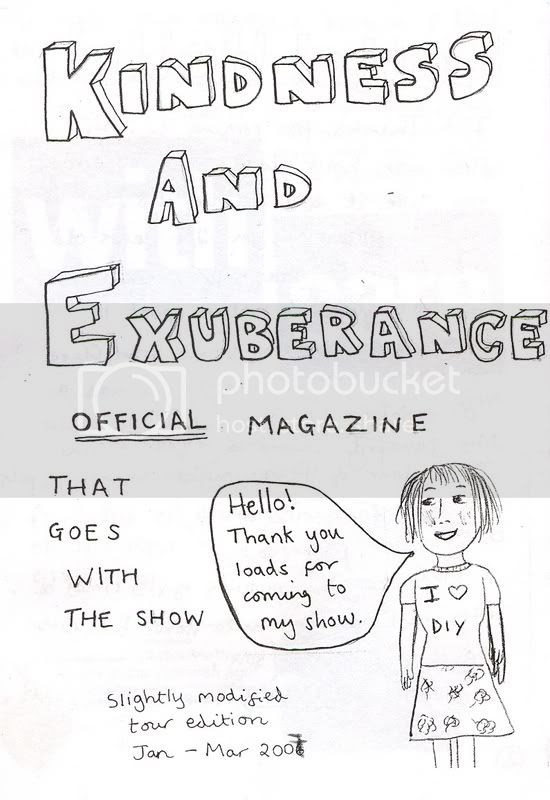 Josie Long programme cover: 'Kindness and Exuberance' tour Feb 2007