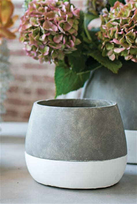 Dip Dyed Ceramic Ash Flower Pots 6.75 x 5.25in