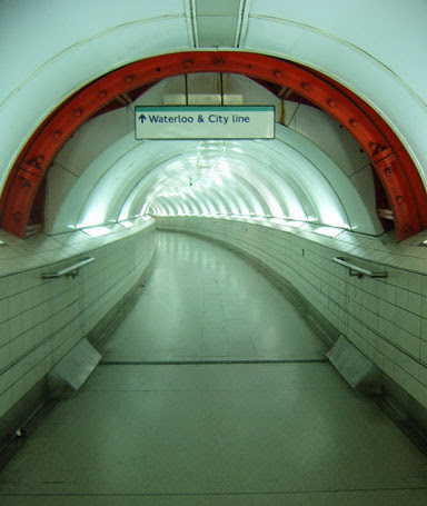 Deserted tunnel to Waterloo & City Line
