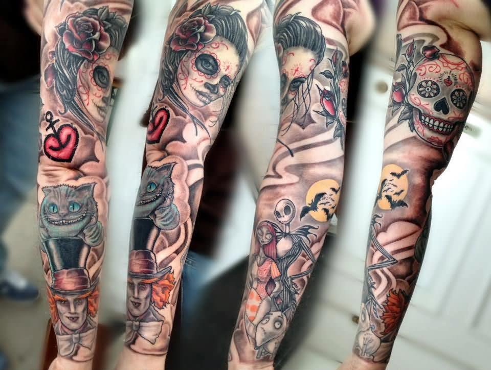 Sugar Skull And Sleeve Tattoo