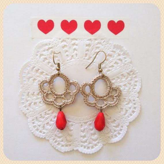 Crochet earrings Cream Red