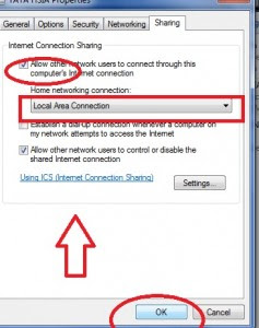 choose setting to share internet