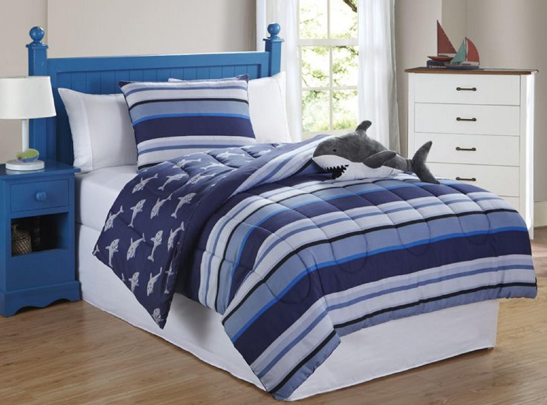 Furry Friends Shark Stripe 3 Piece Comforter Set - Home ...