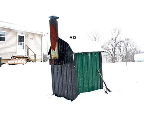 Snow around the wood furnace